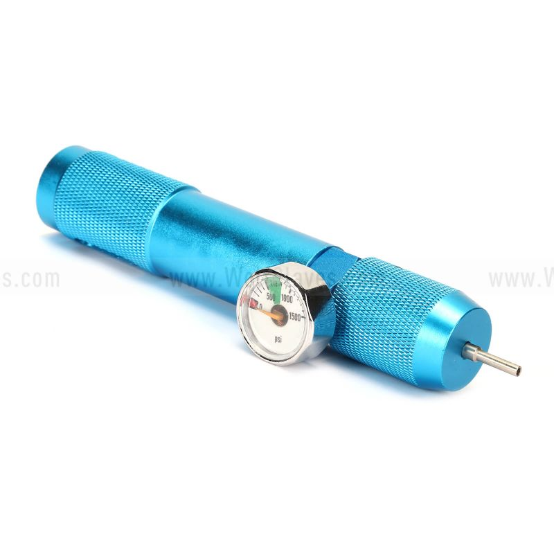 Co2 Refill Charger Portable Adaptor with PSI Gauge Blue w/Readout Tactical Ex-Ternal Upgrade Accessories