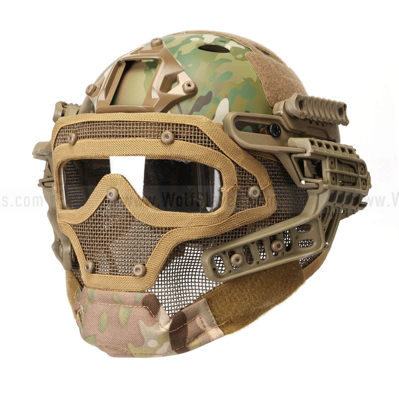 Fast Tactical Helmet Combined with Full Mask and Goggles for Airsoft Paintball CS