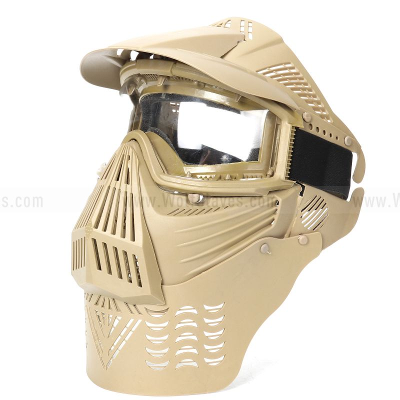 Tactical Full Face Airsoft Goggle Lens Mask With Neck Protect