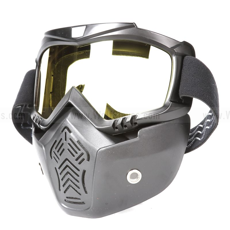 Haley Motorcycle Goggles Windproof Sandproof Airsoft Mask Shield Detachable with Mouth Filter UV Riding Glasses