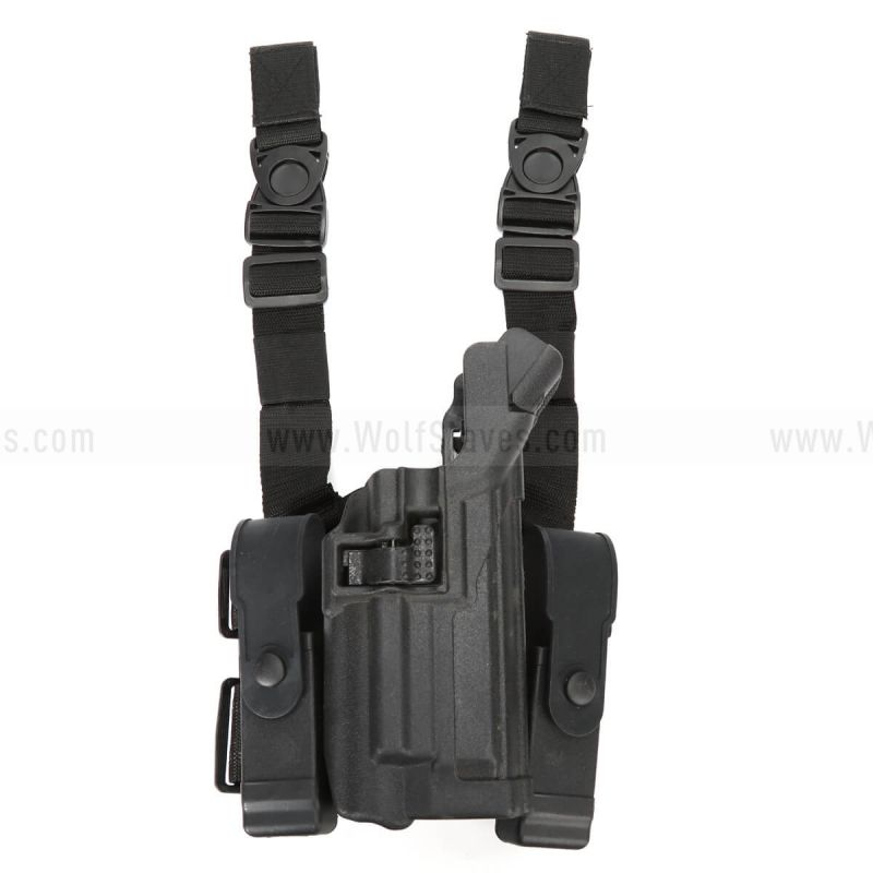 Tactical LV3 Light Bearing Duty Drop Leg Holster W/ Double Magazine Pouch For M92 92 Pistol w/Flashlight