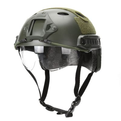 Airsoft Tactial PJ Type Tactical Fast Helmet w/ Protective Goggles