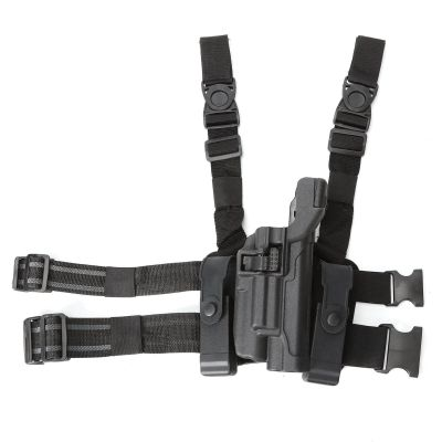 Tactical LV3 Light Bearing Duty Drop Leg Holster W/ Double Magazine Pouch For Colt 1911 Pistol w/Flashlight