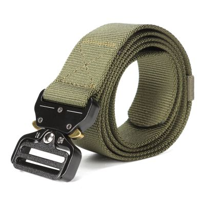 Tactical Belt, Military Style Webbing Riggers Web Belt with Heavy-Duty Quick-Release Metal Buckle